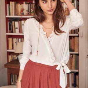 Sezane Élina 100% silk tie blouse